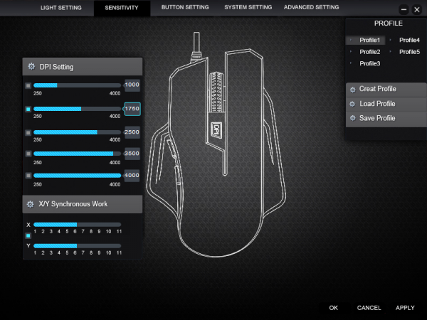 1byone 4000 DPI Programmable Gaming Mouse Sensitivity Settings