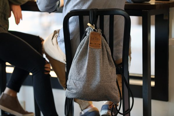 Flak Sack tote bag locked to a chair